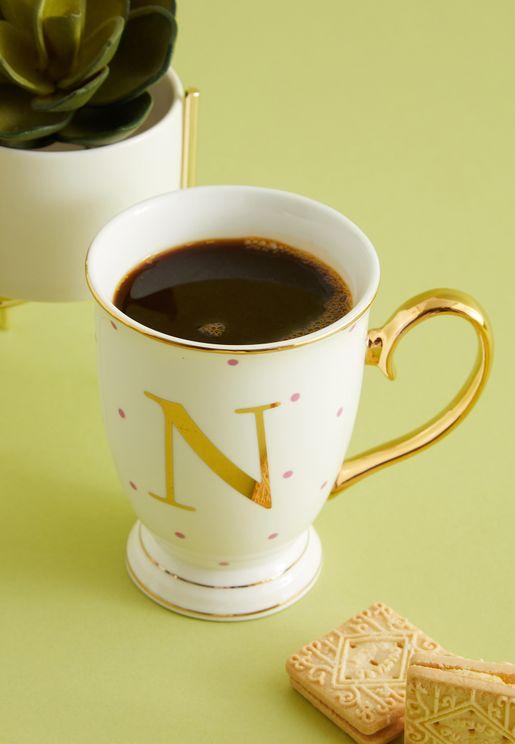 N Alphabet Spotty Mug
