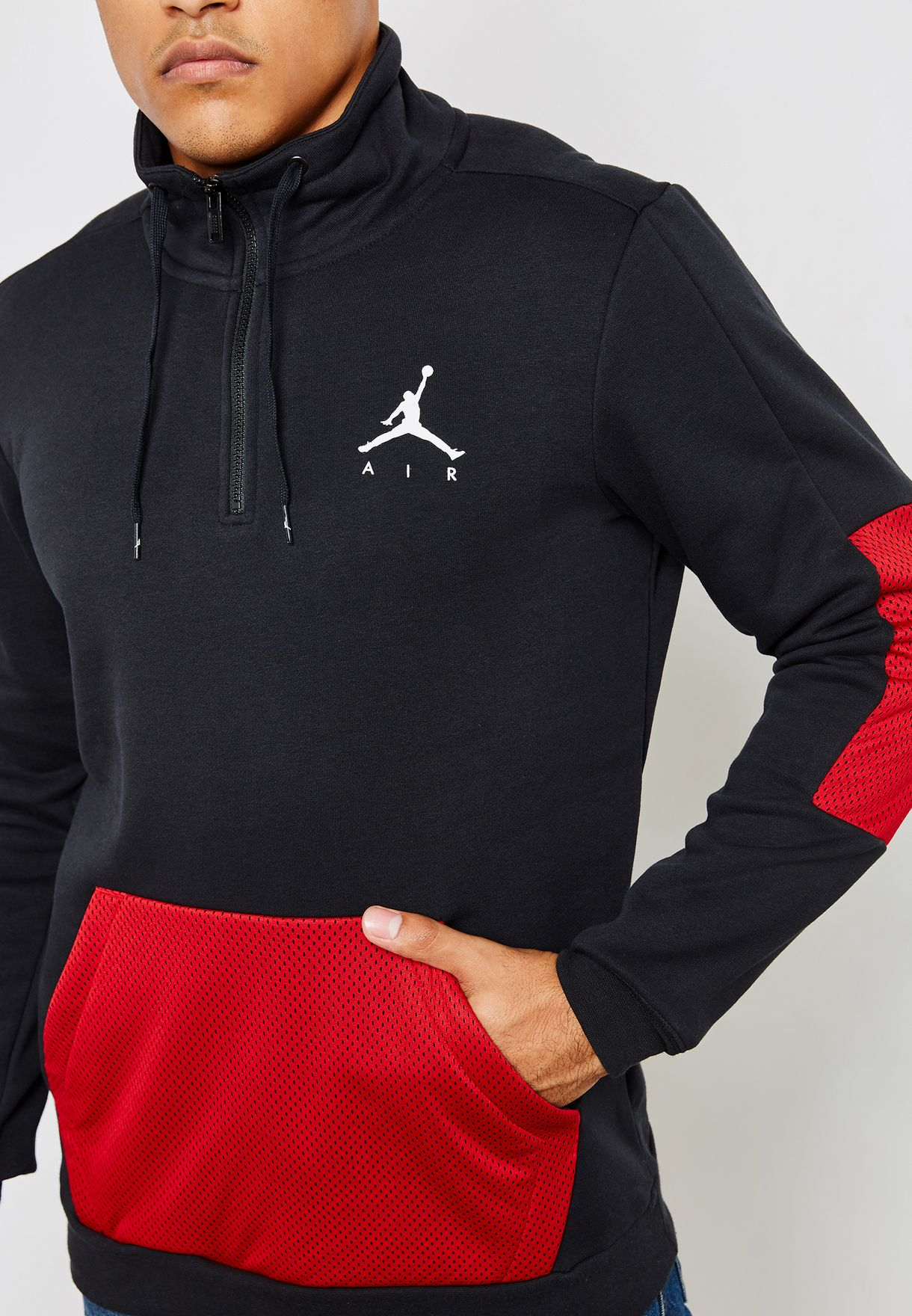 899a5a0fad3c Shop Nike black Jordan Jumpman Hybrid Fleece Sweatshirt AH6238-010 ...