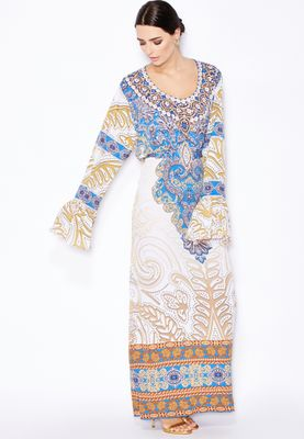 Haya's Closet Digital Print Embellished Kaftan