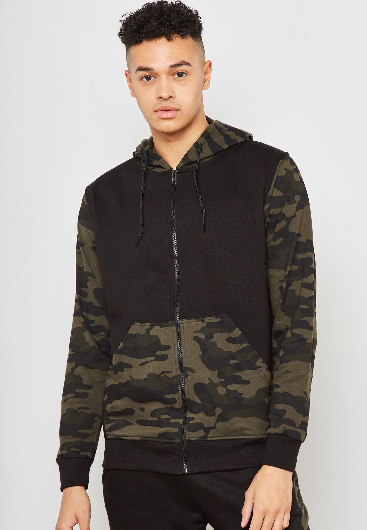 Camo Block Hooded Tracksuit Set