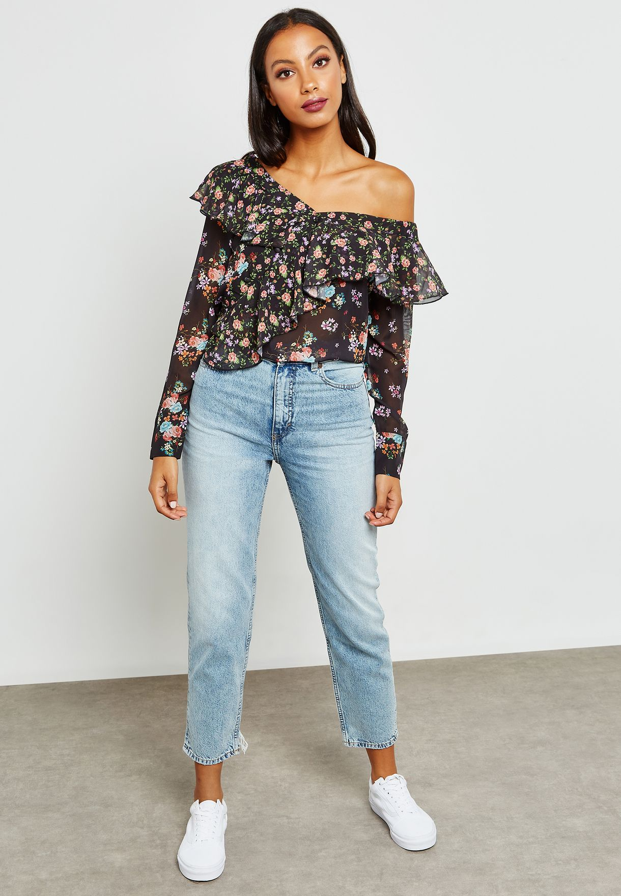 Floral Print Ruffle One Shoulder Top