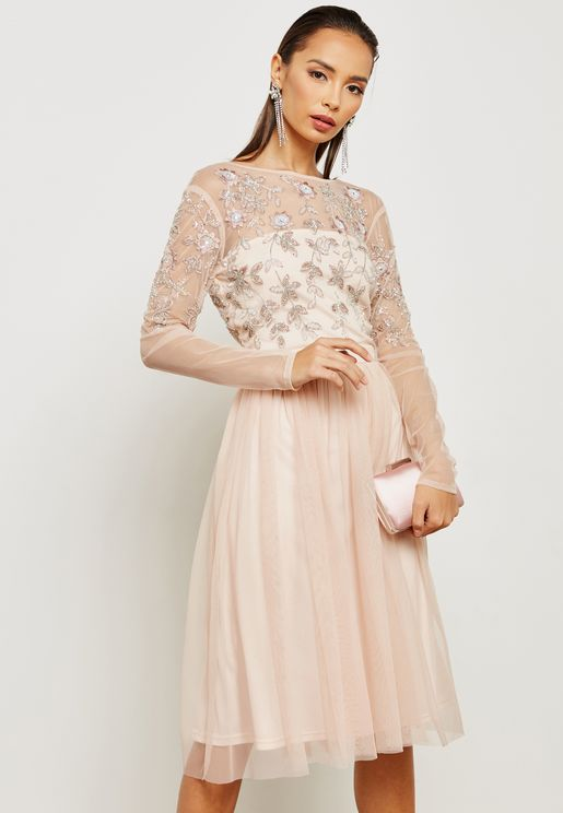 Embroidered Shimmer Tulle Dress