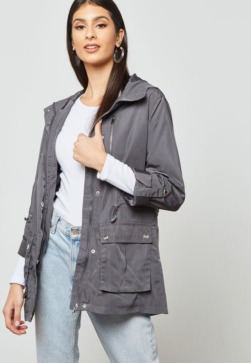 Roll Sleeve Raincoat