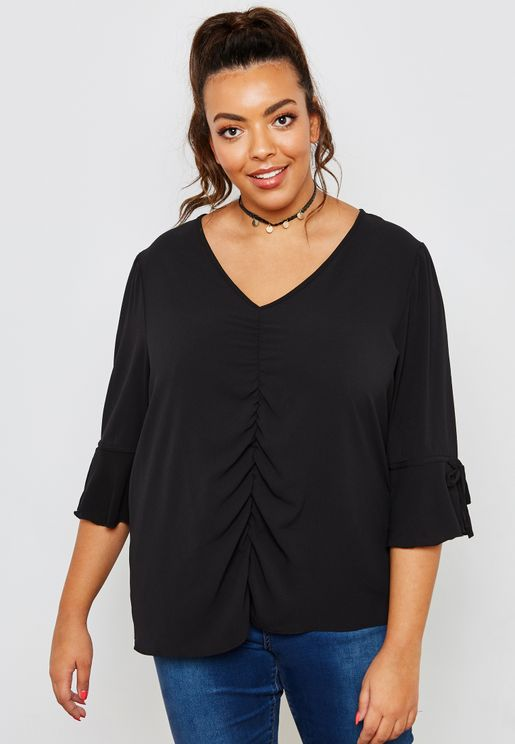 Ruched Front Tie Flute Sleeve Top