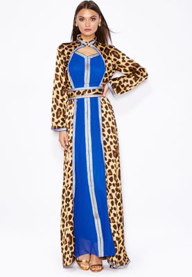 Threadz Leopard Printed Kimono Maxi Dress