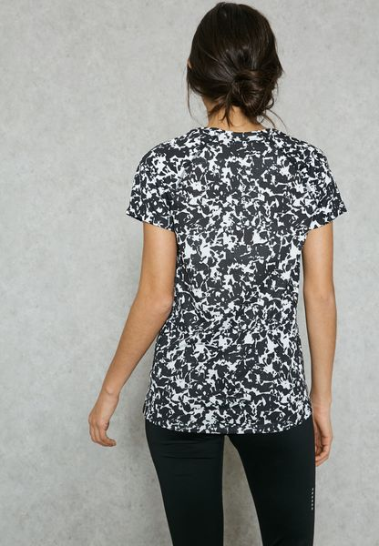 4774f966bfb71 Shop Nike monochrome DriFit Miler Printed TShirt 831536010 for Women in UAE  80%OFF