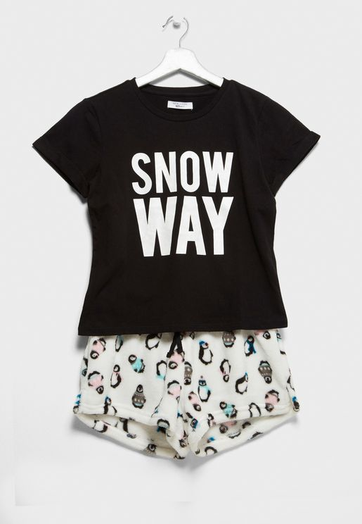 Christmas Teen Slogan T-Shirt + Shorts Set
