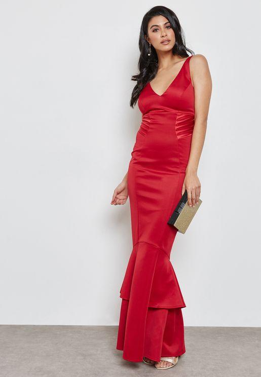 Plunge Ruffled Bodycon Dress