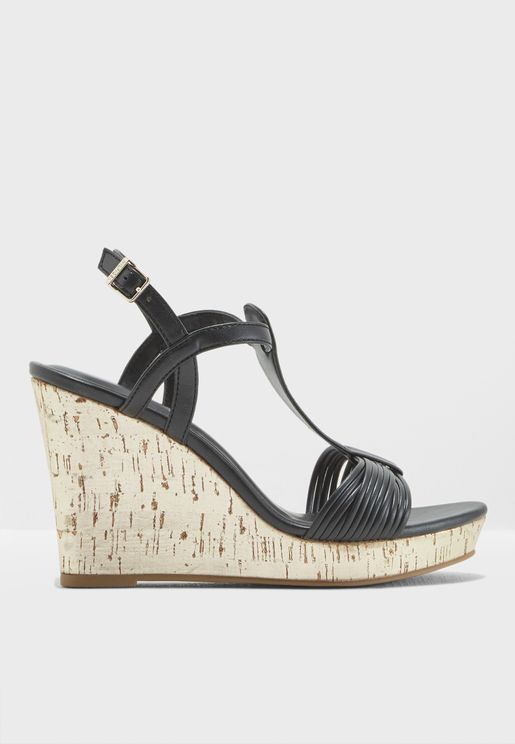 Refined Strappy Wedge Sandal