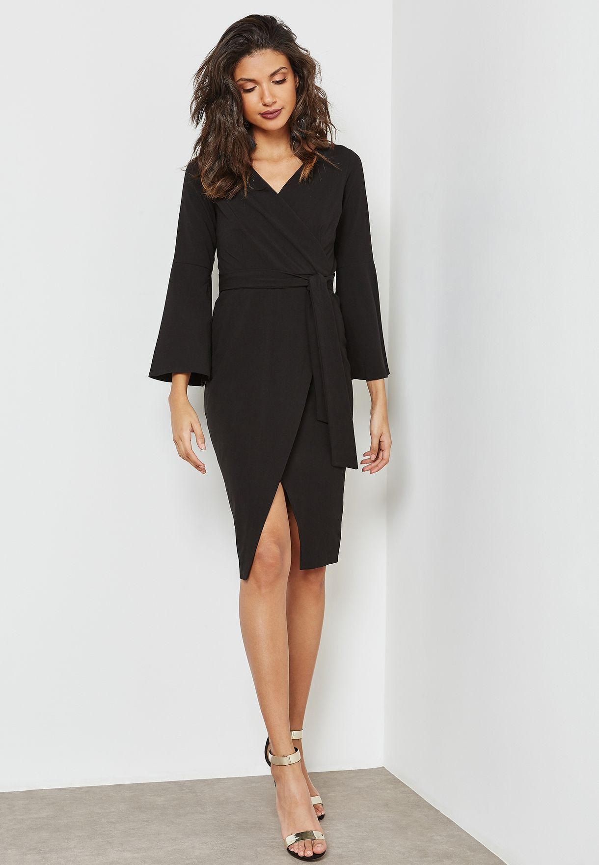 Flute Sleeves Wrap Dress
