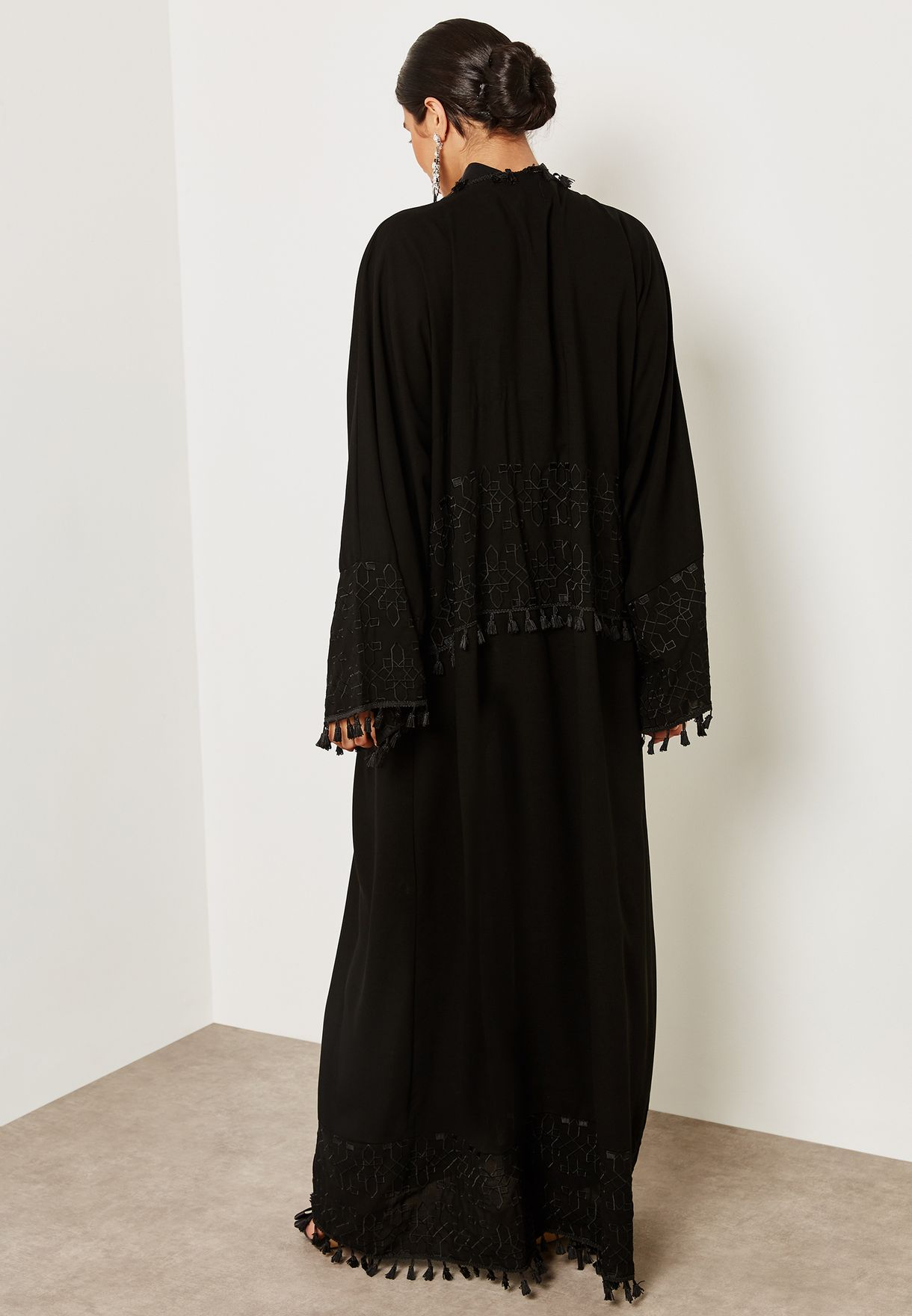 Embroidered Tassel Trim Abaya
