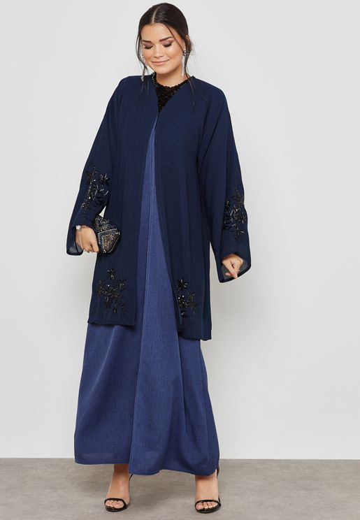 Handwork Detail Jacket Abaya