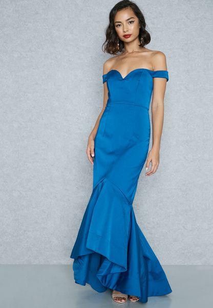 Fishtail Bardot Maxi Dress