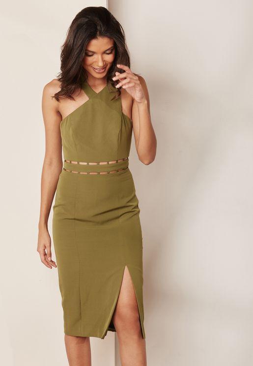 Front Slit One Shoulder Dress