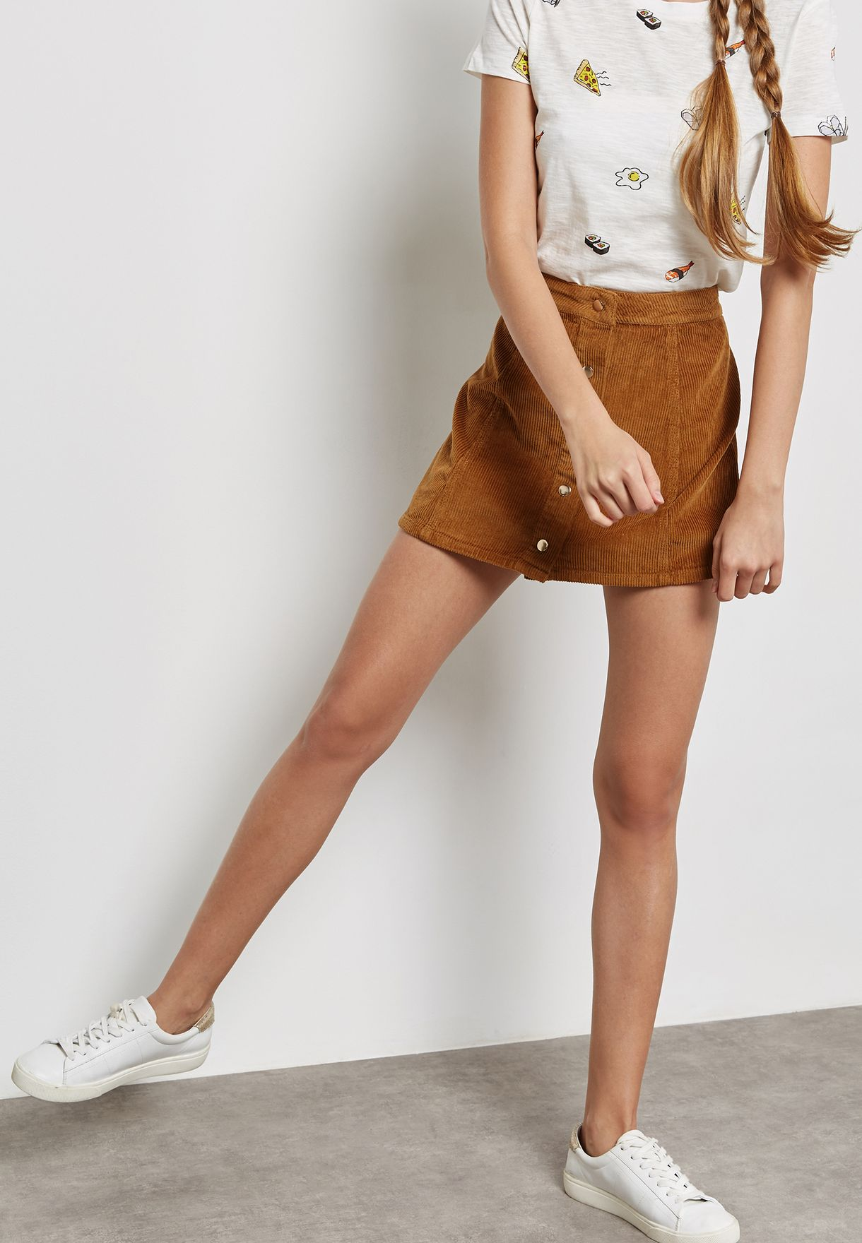 70c418353 Shop Forever 21 brown Corduroy Button-Front Skirt 235454 for Women ...
