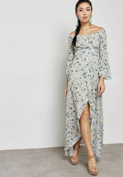 Front Split Bardot Printed Dress