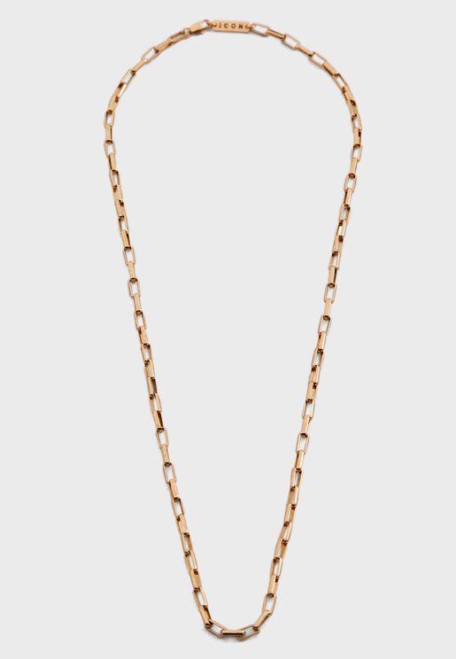 Ractangular Link Chain Necklace
