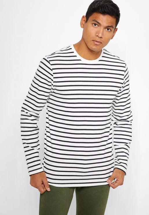 Evan Heavy Striped Crew Neck T-Shirt
