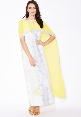 Haya's Closet Embellished Lace Trim Kaftan