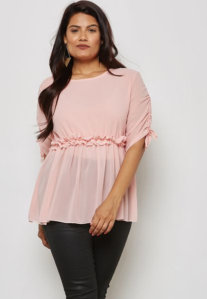 Ruched Sleeve Ruffle Detail Top