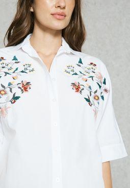 Embroidered Yoke Oversized Shirt