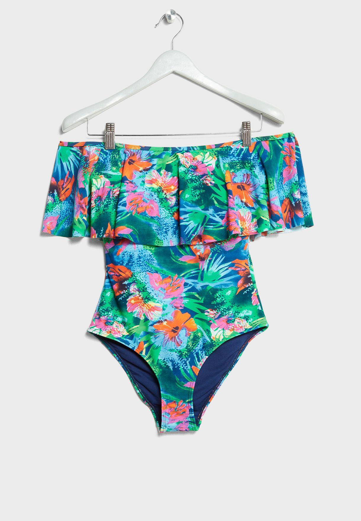 ed63e63340d Tropical Print Bardot Swimsuit