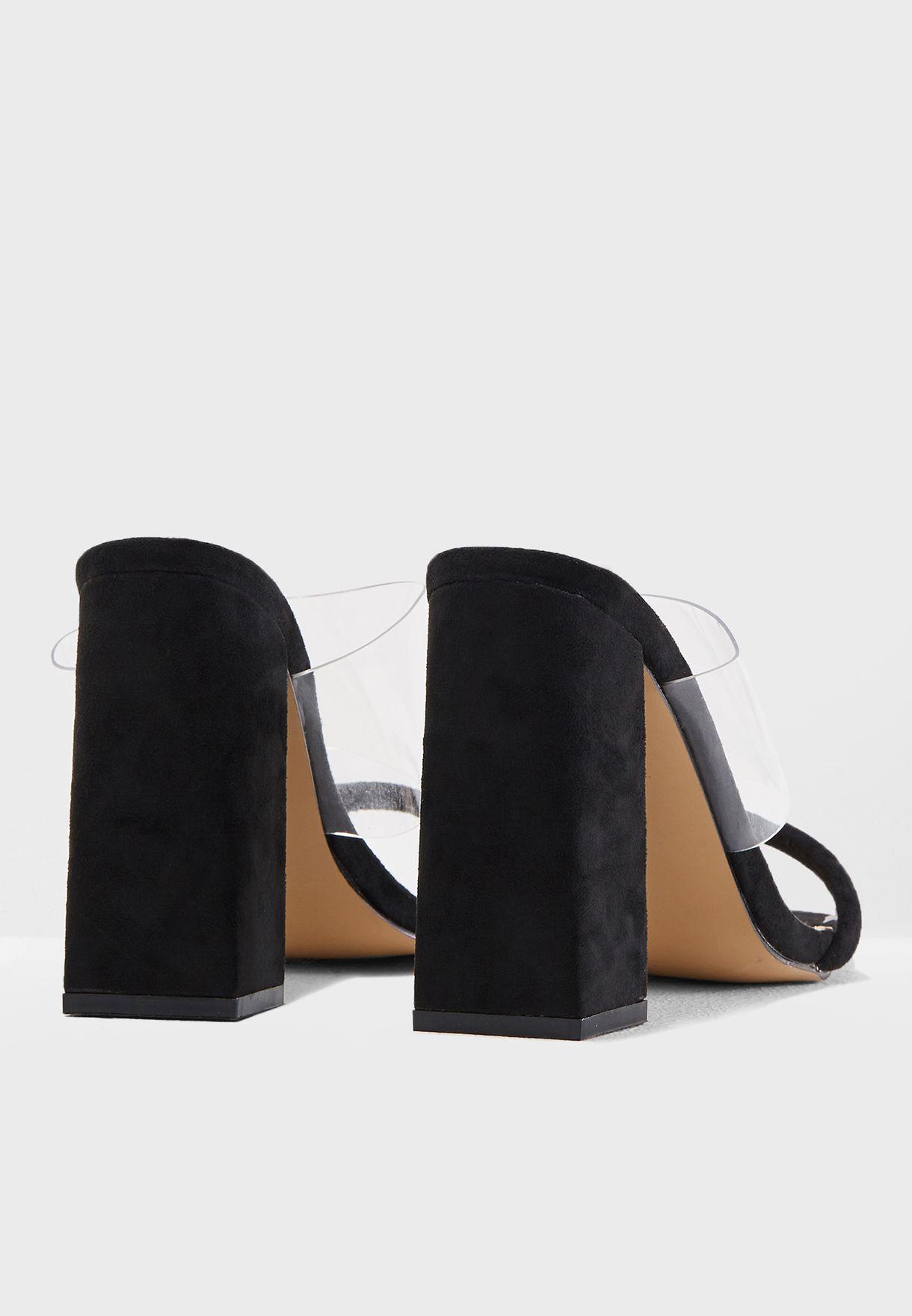 Dinah Perspex Strap Slip On Heeled Mule