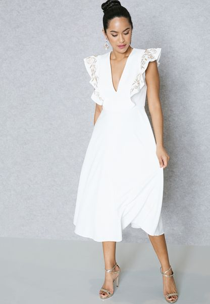 Embroidered Ruffle Shoulder Dress