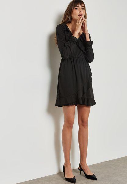 Ginger. Ruffle Trim Wrap Front Dress