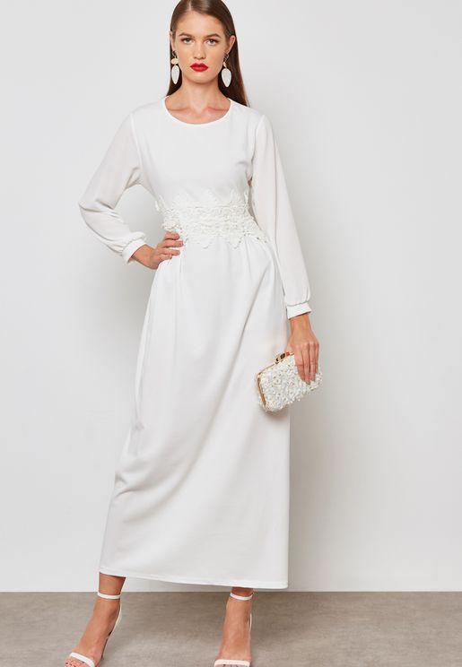 Crochet Waist Maxi Dress