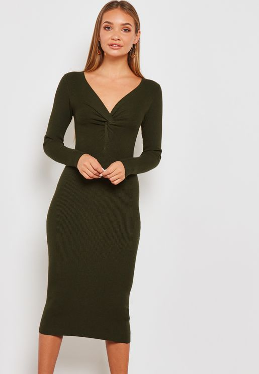 Twisted Front Sweater Dress