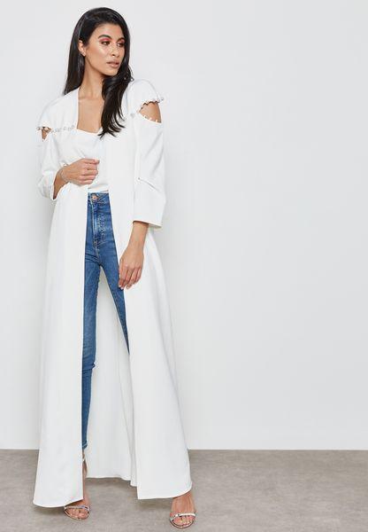 Pearl Detail Longline Jacket