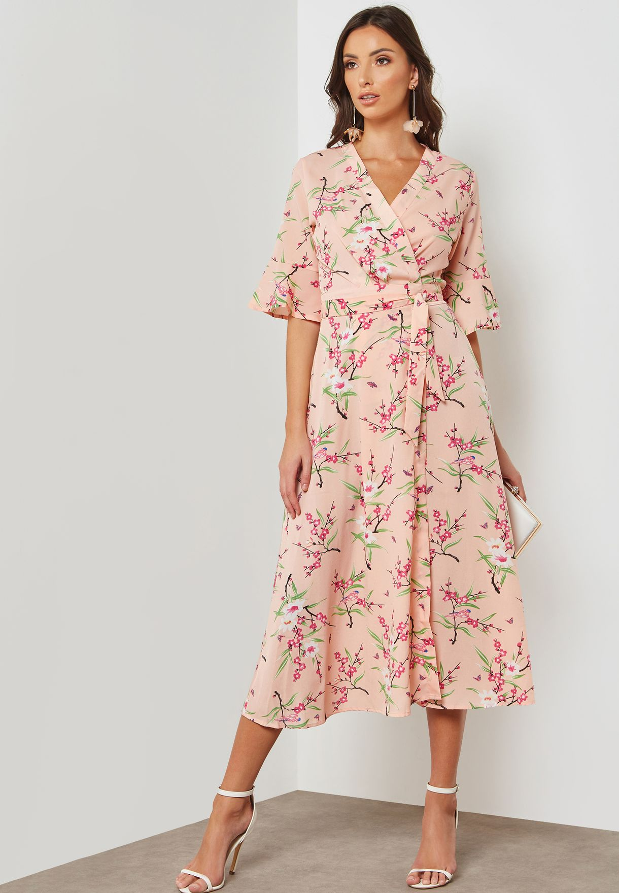 Printed Wrap Front Midi Dress