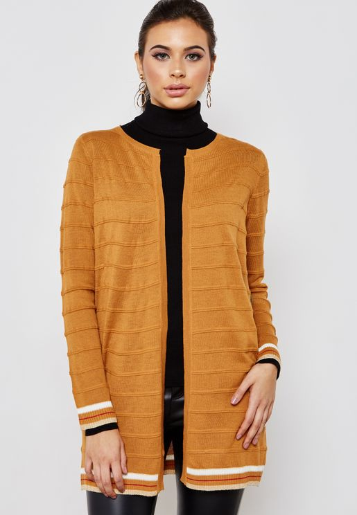 Contrast Ribbed Trim Cardigan