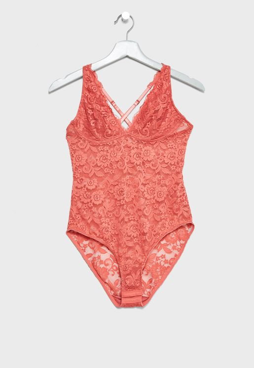 Contrast Lace Detail Plunge Body