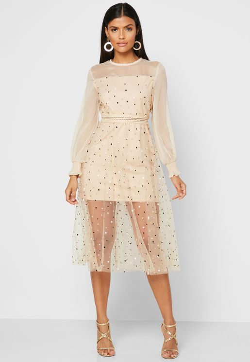 Polka Dot Tulle Mesh Overlay Dress