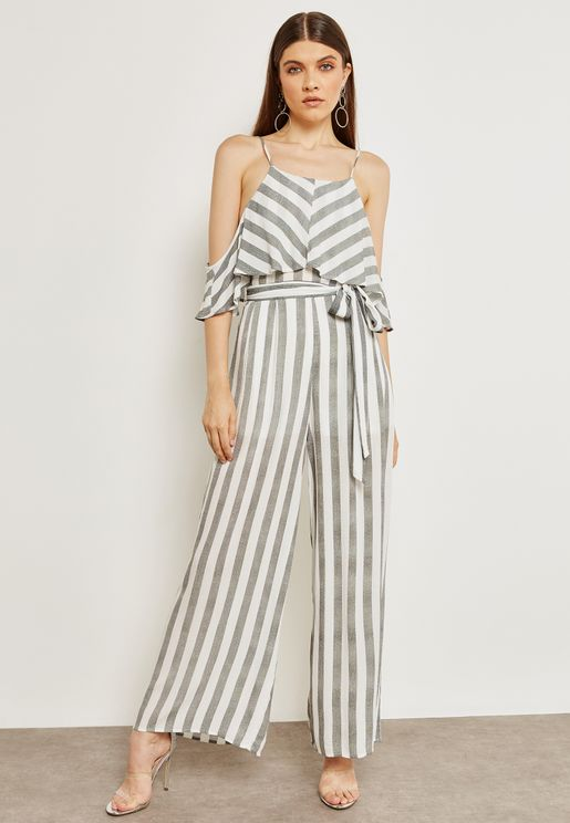 Striped Cold Shoulder Jumpsuit