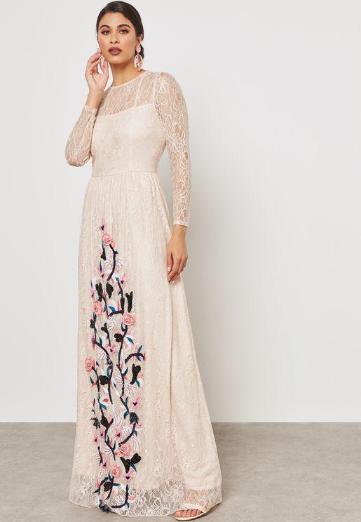 Embellished Lace Maxi Dress