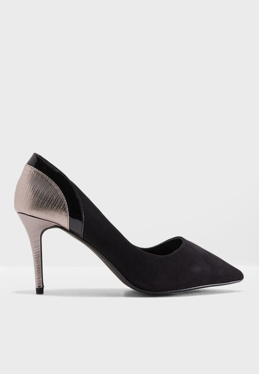 Wide Fit Gallop Metallic Court Shoe