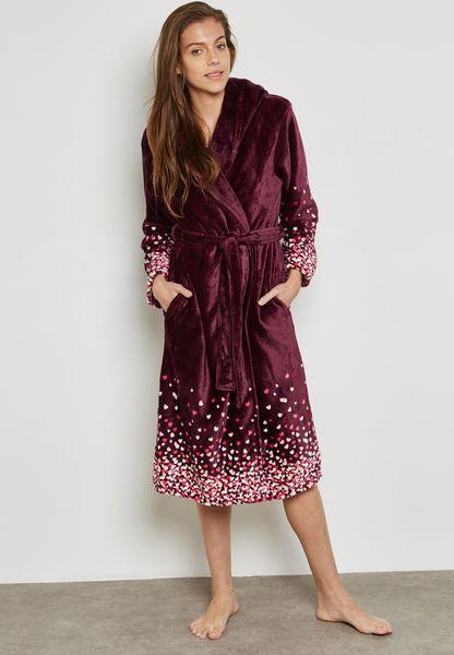 Heart Print Robe