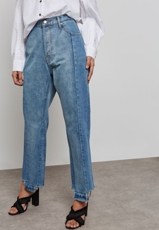 Two Tone Straight Jeans