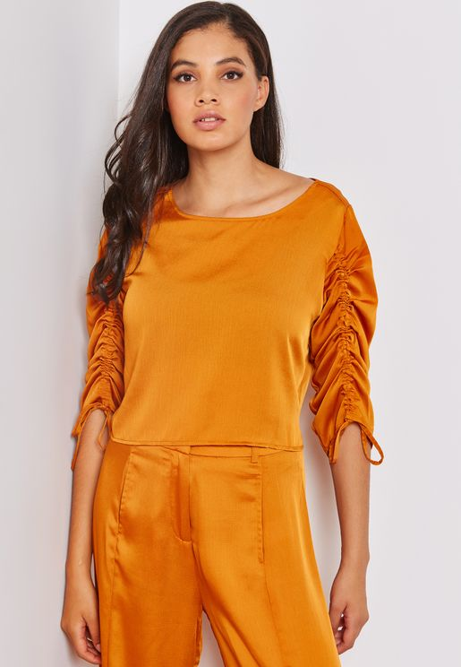 Satin Ruched Sleeve Crop Top Co-ord