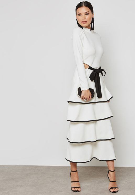 Tiered Self Tie Dress