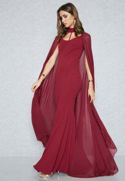 Cut Out Yoke Cape Dress