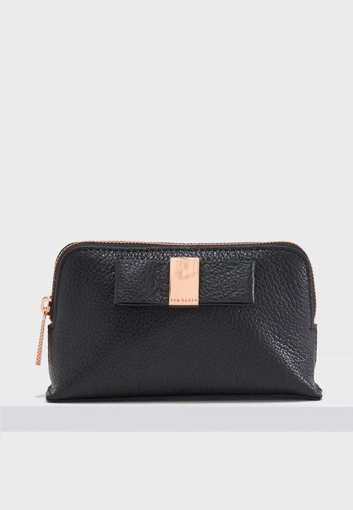 Raulph Leather Bow Cosmetic Bag