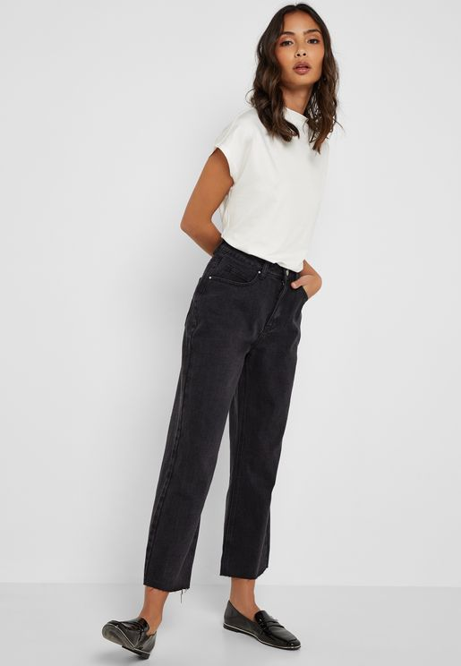 Denim Wide Leg Cropped Pants with Raw Hem