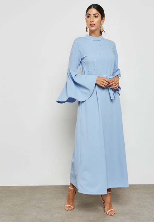 Pearl Ruffle Sleeve Self Tie Maxi Dress