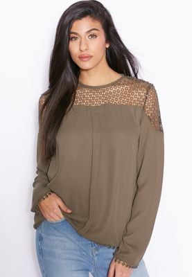 Ginger Crochet Lace Detailed Top