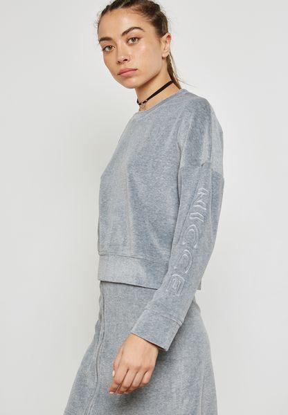 Logo Sleeve Velour Sweatshirt