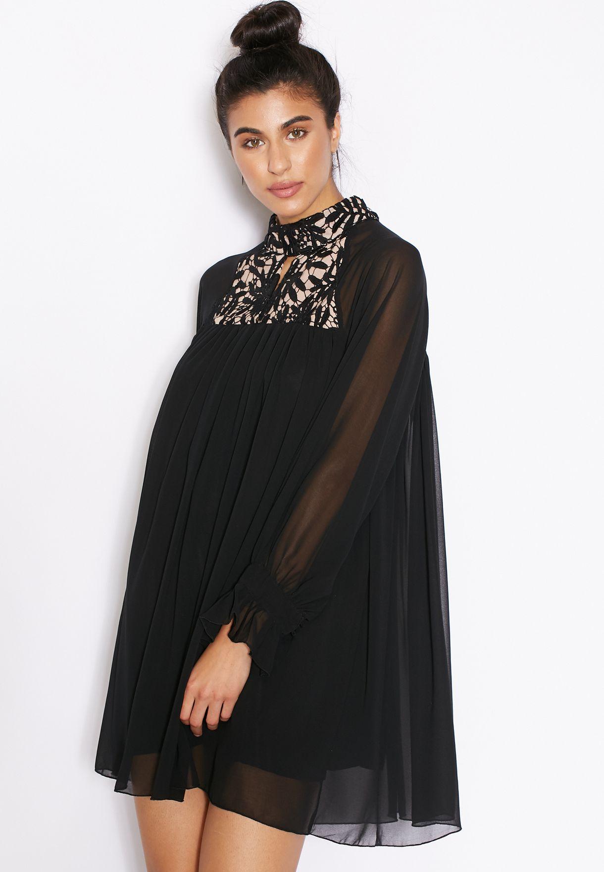 559786170e2 Shop Ginger black Lace Yoke Swing Dress for Women in Qatar - GI121AT71ZFO